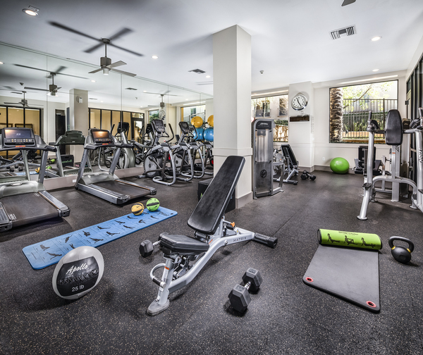 fitness center at Trio Apartments