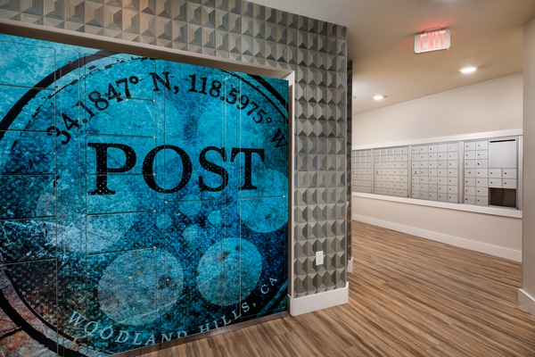 mail room at The Pointe at Warner Center Apartments