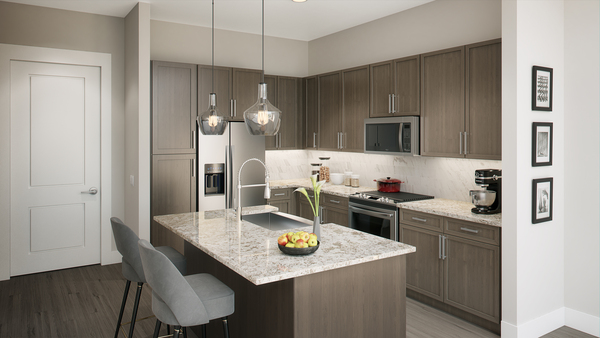 kitchen at Alexan Lower Heights Apartments