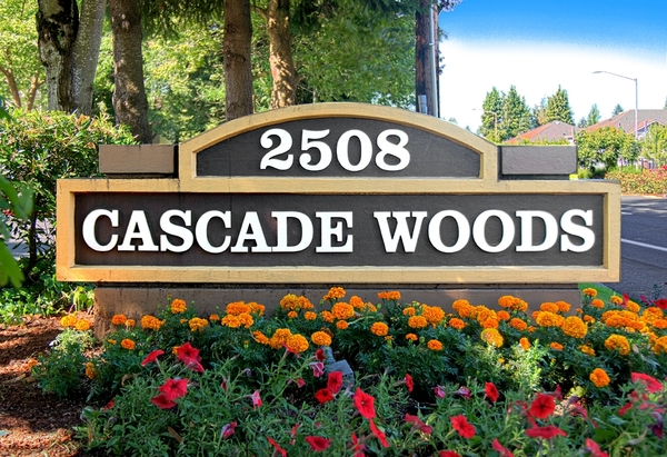 signage at Cascade Woods Apartments