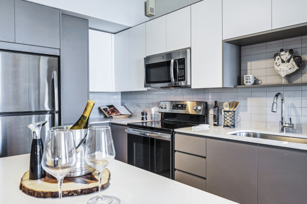 kitchen at Pacifica Apartments