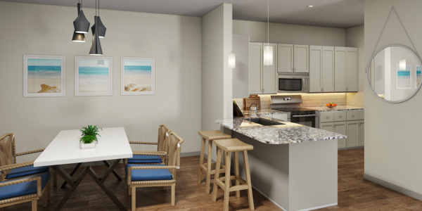 dining area at The Residences at Pearl Point Apartments
