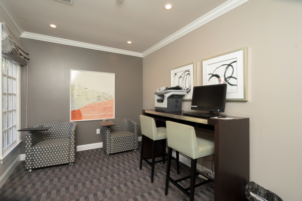 business center at Rock Creek at Ballantyne Commons Apartments