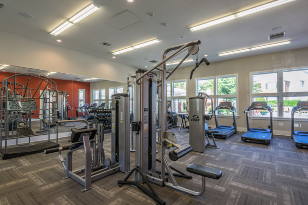 fitness center at Rock Creek at Ballantyne Commons Apartments
