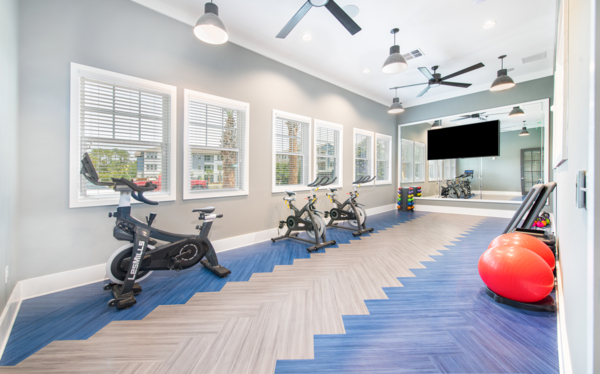 yoga/spin studio at Aventon Park West Apartments