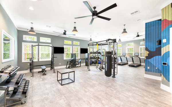 fitness center at Aventon Park West Apartments