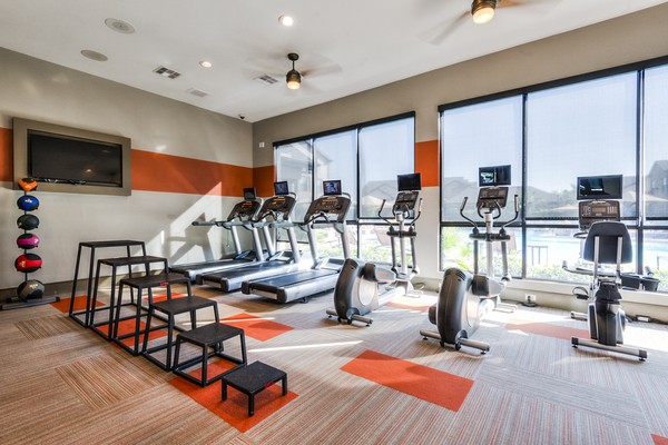 fitness center at Sorrel Grand Parkway Apartments
