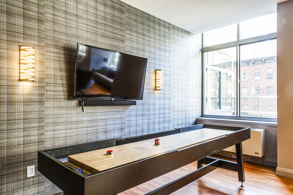 game room at 800 Sixth Apartments