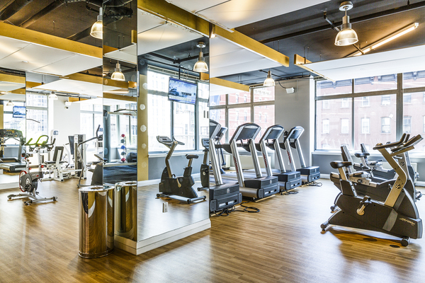 fitness center at 800 Sixth Apartments