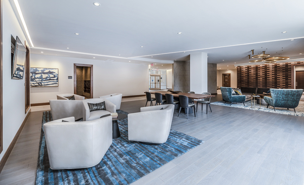 clubhouse/lobby at Elan Union Market Apartments