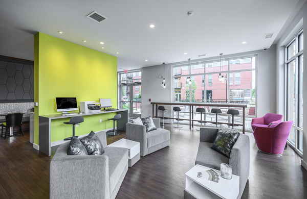 business center at Elan Union Market Apartments