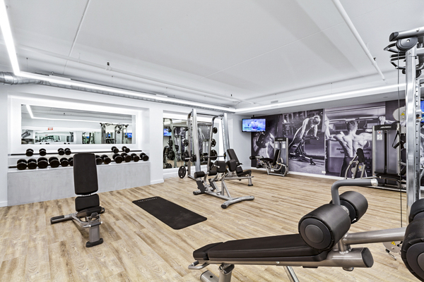 fitness center at The Chelsea Apartments