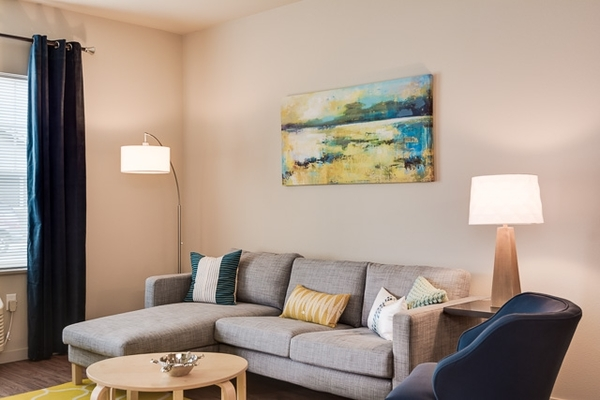 living room at The Bailey at Amazon Creek Apartments