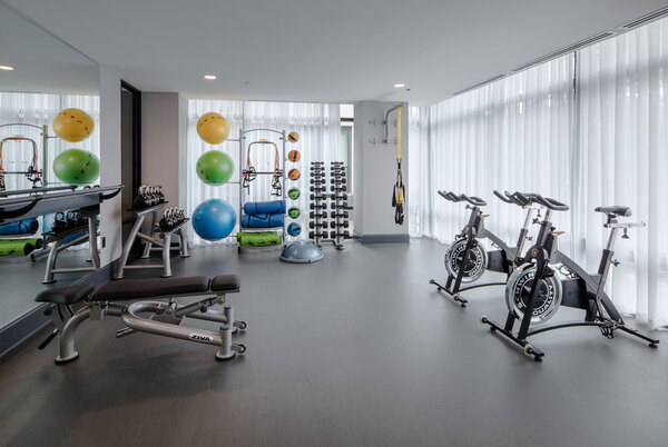 fitness center at Broadstone Midtown Apartments