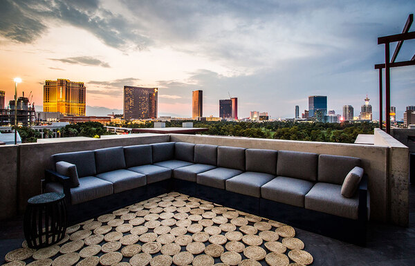 rooftop deck at Elysian at the Hughes Center Apartments