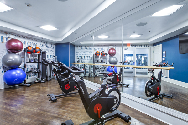 yoga/spin studio at The Union at Lyndhurst Apartments