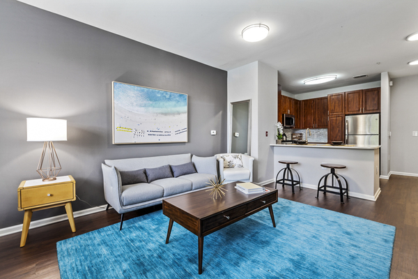 living room at The Union at Lyndhurst Apartments