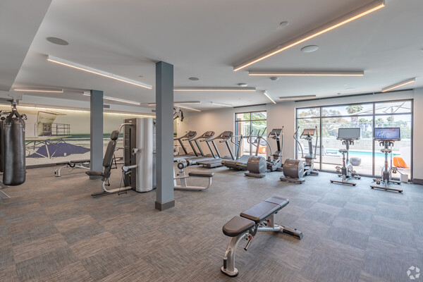 fitness center at Jefferson Pacific Beach Apartments