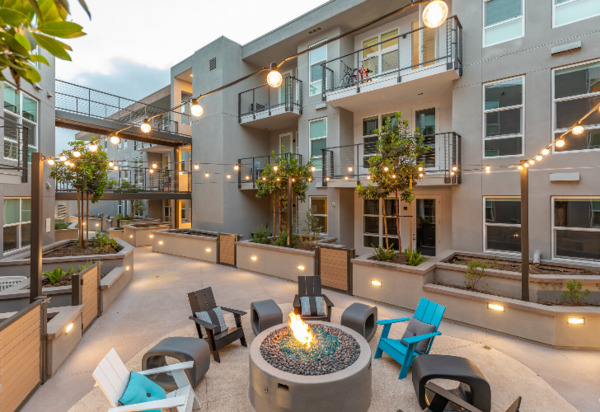 fire pit at Jefferson Pacific Beach Apartments