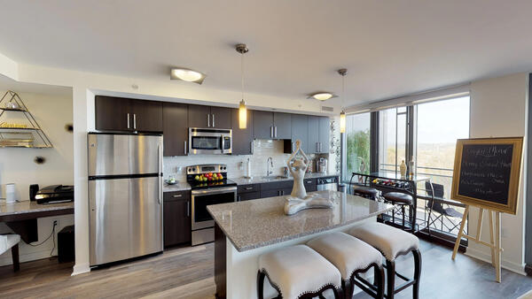 kitchen at DelRay Tower Apartments