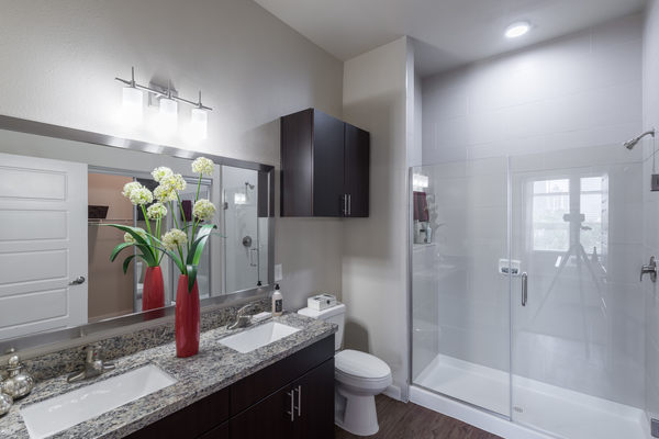 bathroom at High Point Uptown Apartments