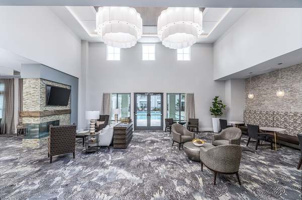 clubhouse/lobby at Overture West Ashley Apartments