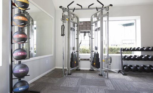 fitness center at Lexington Townhomes Apartments