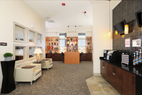 coffee bar and lounge area at Arvada Station Apartments