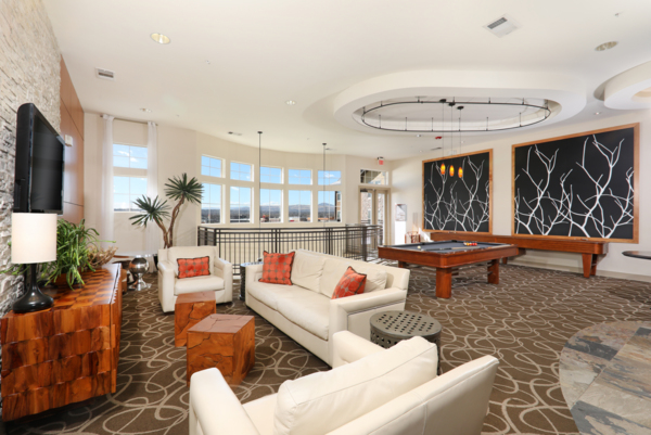 billiards and lounge area at Arvada Station Apartments