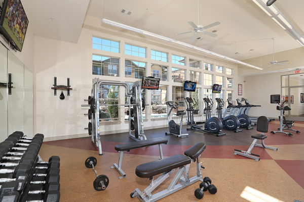 fitness center at Arvada Station Apartments