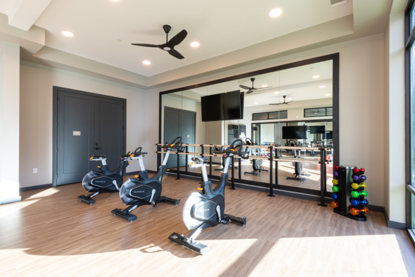 yoga/spin studio at Solis Patterson Place Apartments