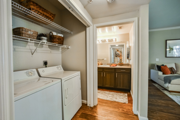 laundry room at Broadstone New Territory Apartments
