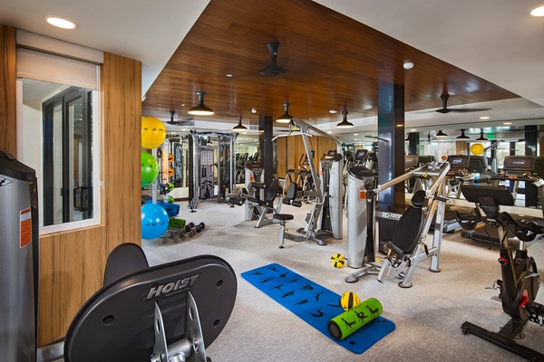 fitness center at The Hudson Apartments