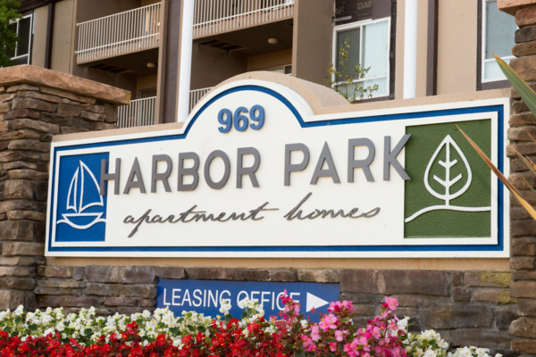 signage at Harbor Park Apartments