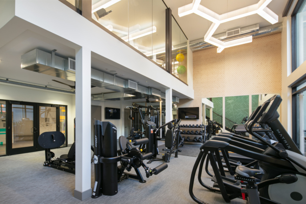 fitness center at The Cardinal Apartments