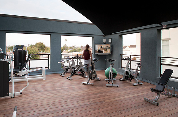 fitness center at Forty55 Lofts