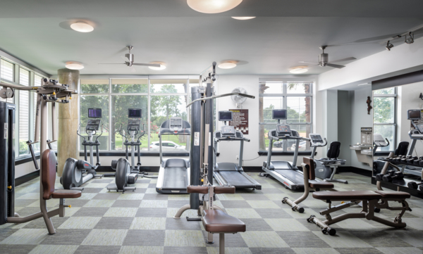 fitness center at Memorial Hills Apartments