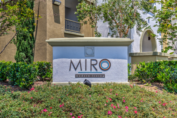 signage at Miro Apartments