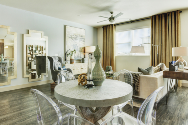dining room at Parq at Iliff Apartments