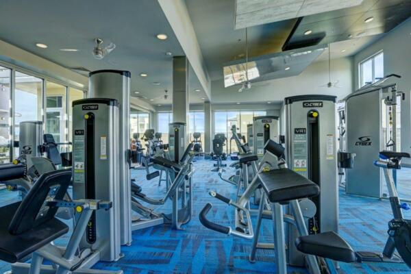fitness center at Parq at Iliff Apartments