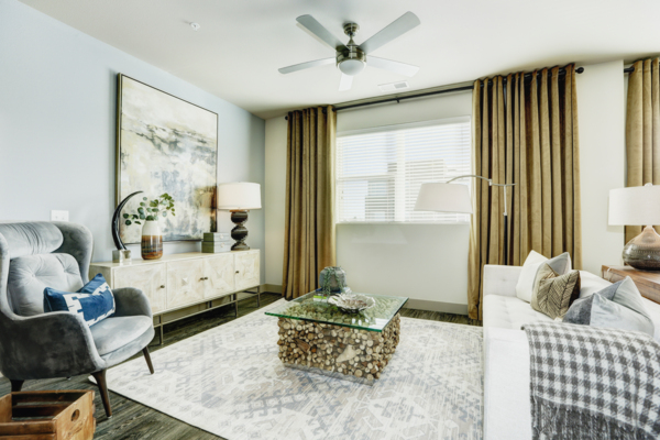 living room at Parq at Iliff Apartments