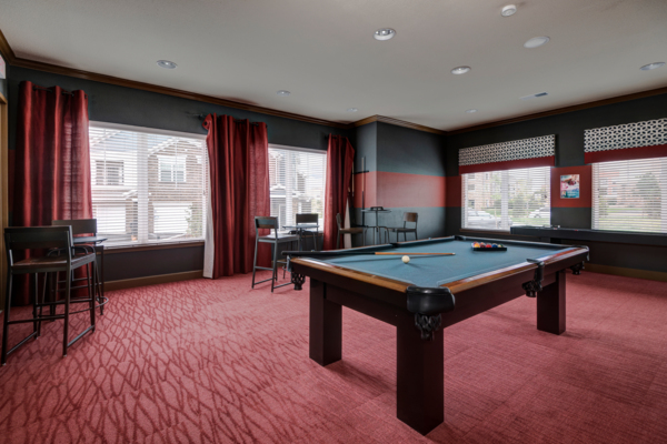 game room at Waterford at Southlands Apartments