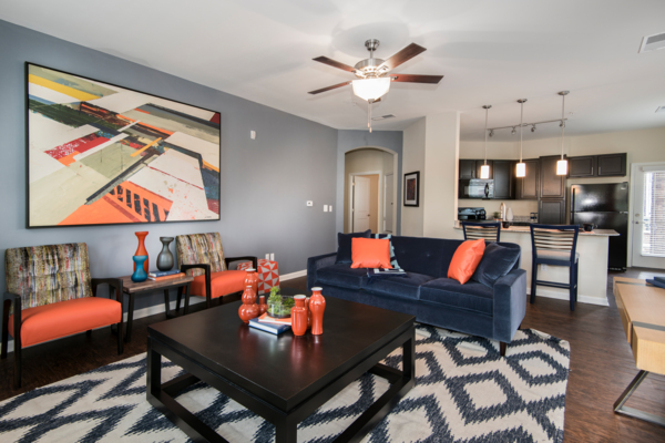 living room at Waterford at Southlands Apartments