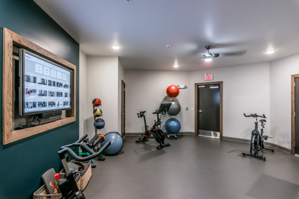 yoga/spin studio at The Guthrie North Gulch Apartments