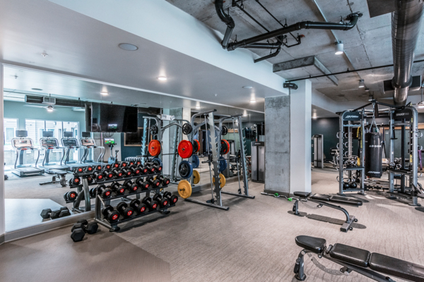 fitness center at The Guthrie North Gulch Apartments