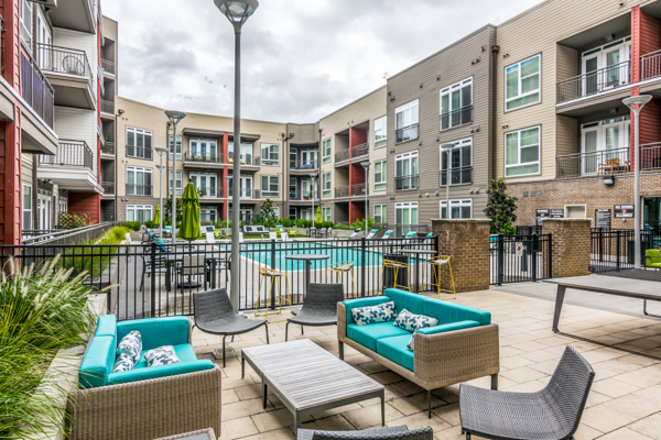 pool/patio area at The Guthrie North Gulch Apartments