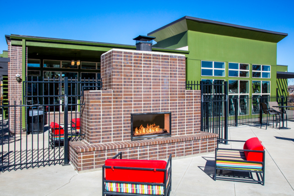 fire pit at RockVue Apartments