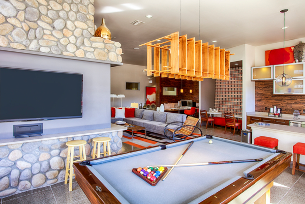 game room at RockVue Apartments