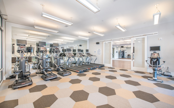 fitness center at Overture Centennial Apartments