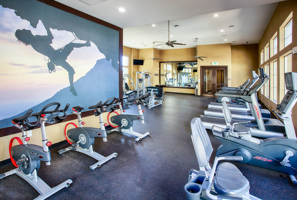 fitness center at Rockrimmon Apartments